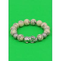 Vòng tay Tỳ hưu inox trắng - Chuỗi đá san hô sọc 12 ly VSHSTHHBT12