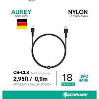 Hàng chính hãng -  Cáp sạc nhanh cho Iphone thương hiệu AUKEY, MFI type C to Lightning CB-CL3, 0.9m (Đen)