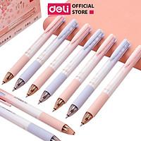 Bút bi nhiều màu Deli - 0.7mm - 4 màu mực - Vỏ thiết kế hoa - 1 chiếc - S311