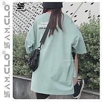Áo phông tay lỡ nữ freesize thun form rộng dáng Unisex mặc cặp, nhóm, lớp in chữ LOS ANGELES XẺ TÀ