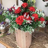 Bình Hoa Giả - Hoa Hoa Hồng Quế Và Hoa Điểm Trắng hoa vải để bàn