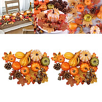 Set of 100 Fall Artificial Pumpkins Realistic Maple Leaves, Pine Cones, Acorns