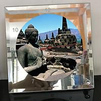Đồng hồ thủy tinh vuông 20x20 in hình Buddhism - đạo phật (49) . Đồng hồ thủy tinh để bàn trang trí đẹp chủ đề tôn giáo