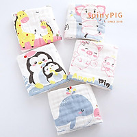 Set 5 khăn xô sữa cho bé 6 lớp hàng cao cấp thêu hoạ tiết mềm mại