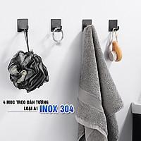 Combo 4 móc treo loại A1 màu đen, Inox 304, SUS304 dùng miếng dính dán tường không cần khoan, xắp xếp treo đồ đạc gọn gàng, tiết kiệm không gian, đồ dùng gia đình, Dan House 311-A1-4