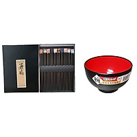 Combo 01 Bát tô Nakaya 420ml - Màu đen lòng đỏ + 01 Set 10 đôi đũa Nhật, chất gỗ tự nhiên - Nội địa Nhật Bản