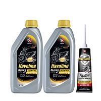 Combo 2 chai dầu nhớt xe tay ga Caltex Havoline SuperMatic 4T SAE 10W-40 1L tặng kèm nhớt hộp số xe tay ga
