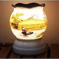 Đèn Xông Tinh Dầu Gốm Bát Tràng Gốm Sứ Thấu Quang Size Trung