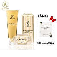 Bộ 3 sản phẩm phục hồi da mặt Royal Facial KN Beauty sửa rửa mặt 100gr+ ampoule 30ml+kem30gr tặng kèm mặt nạ saffron