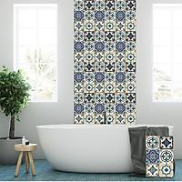 Decal gạch bông  in UV cao cấp dán tường trang trí phòng tắm 4 miếng khổ 40x60cm