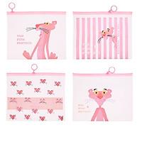 Combo 4 Túi Đựng Bút Viết Zip The Pink Panther - Mẫu Khác Nhau