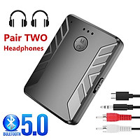 Bluetooth 5.0 Audio Transmitter Receiver Headphones 3.5mm AUX RCA Wireless Adapter