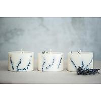 Combo 3 nến thơm cao cấp bằng sáp đậu nành với tinh dầu hữu cơ hoa oải hương, trang trí cành hoa oải hương tự nhiên - mỗi nến 250ml