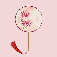 Quạt tròn cổ trang mẫu cầm tay cán dài M65 in hình hoa bỉ ngạn