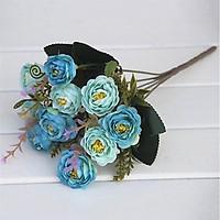 Hoa giả - Cành hoa hồng trà Châu Âu 10 bông trang trí bàn trà phòng khách,  nhà hàng, spa