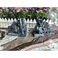 Cặp Tỳ Hưu phong thủy đá cẩm thạch vân đen có đế - Dài 15 cm