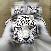 3D Cool Tiger Head Printing Theme Bed Set Quilt Cover Pillowcases Housewarming Gift Decoration 3pcs/4pcs