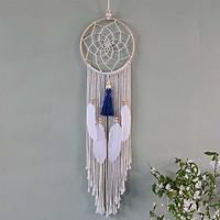 Dreamcatcher trang trí khung tròn lưới nhện tặng kèm móc dán tường