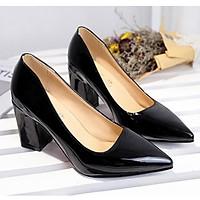 Giày cao gót 5 cm Da Bóng gót vuông cực xinh mã CV12