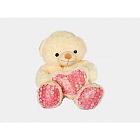 Gấu Bông Teddy Màu Kem Ôm Tim Ngộ Nghĩnh 1m4