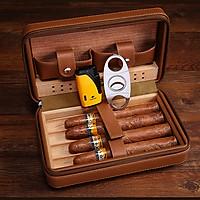 Bao da đựng Cigar cao cấp (kt 20x13x6cm) Giao màu ngẫu nhiên
