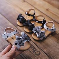 Dép sandal cao cấp bé gái đế mềm đính nơ xinh xắn size 15-30