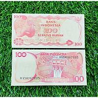Tiền Indonesia 100 Rupiah hình chim quý hiếm phát hành 1984, mới 100% UNC, tặng túi nilon bảo quản