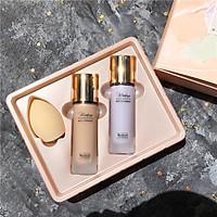 Set trang điểm Makeup HANYAS 3 in 1gồm kem lót,kem nền tặng kèm bông đánh
