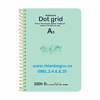 Sổ lò xo đơn ruột chấm Dot Grid A5 - 200 trang; Klong 968 bìa xanh