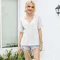 Women T Shirt Waffle Tops with Pocket Loose V-Neck Solid Short Sleeve Tee Pullover Casual Summer Beach