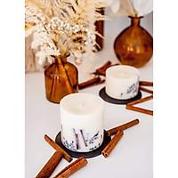 Combo 2 nến thơm cao cấp bằng sáp đậu nành với tinh dầu quế và đinh hương, trang trí thanh quế và nụ đinh hương tự nhiên - 500ml và 250ml