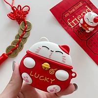 Bao case silicon chống sốccho tai nghe Apple Airpods Pro kiểu dáng Mèo thần tài phiên bản Lucky đem lại may mắn cho người sử dụng(chống vân tay, chống bám bẩn, vật liệu cao cấp) - Hàng nhập khẩu