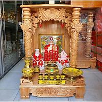 COMBO bộ bàn thờ thần tài ông địa ngang 56 quỳ Trụ màu vàng chanh