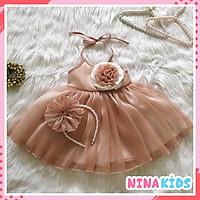 Đầm công chúa cho bé gái tặng kèm bờm tóc - Thiết kế váy cổ yếm hiện đại