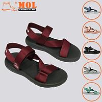 Giày sandal unisex nam nữ quai chéo vải dù đế mõng Slim có quai hậu cố định hiệu MOL mang đi học du lịch MS1166R