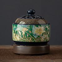 Lư xông trầm hương, tinh dầu bằng điện có chế độ hẹn giờ gốm hoa văn cao cấp