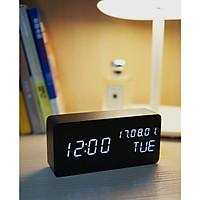 Đồng hồ gỗ LED BEKON hình chữ nhật tiện dụng đo thời gian, ngày tháng, nhiệt độ phòng - Kèm pin.