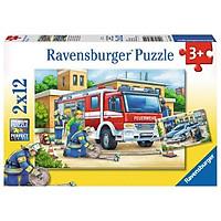 Bộ Xếp Hình Ravensburger Puzzle Cứu Hoả 075744 (2 Bộ 12 Mảnh Ghép)
