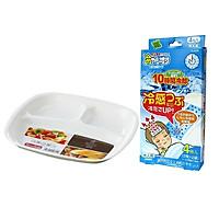 Combo 01 Đĩa 3 ngăn dành cho bé ăn dặm + 01 Hộp miếng dán hạ sốt cho trẻ hàng nội địa Nhật Bản