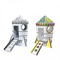 Mô hình tàu vũ trụ bằng giấy tô màu cho bé Z003-4 - Họa tiết ngẫu nhiên - Tặng kèm 1 bộ bút lông nhiều màu cho bé