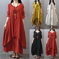 ZANZEA Boho Long Maxi Dress Women Casual Solid Cotton Linen Vestidos Plus Size Elegant Loose Full Sleeve V-Neck Dress Black