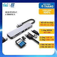 Hub chuyển đổi USB TypeC 6 trong 1 SEASY SS26, Cổng chuyển đổi HUB USB TypeC to HDMI, 1 cổng HDMI 4k UHD , 3 cổng USB 3.0, 2 khe đọc thẻ nhớ SD và TF, Kết nối nhiều thiết bị với tốc độ cao, Dùng cho Điện thoại/Laptop/PC/Macbook – Hàng chính hãng