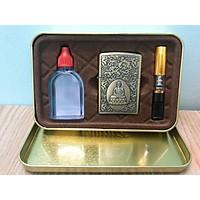 Combo Bật Lửa Hột Quẹt Phật Đài Sen + Bộ chai xăng cà tẩu thuốc