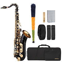 ammoon B-flat Tenor Saxophone Bb Black Lacquer Sax with Instrument Case Mouthpiece Reed Neck Strap Cleaning Cloth Brush