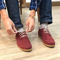 Giày nam thấp cổ buộc dây da bò lộn cao cấp màu đỏ đô CrimsonRed 1929B Sr7 - Giày boots nam cổ thấp buộc dây