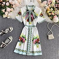 (SẴn M) Váy nơ cổ thiết kế họa tiết