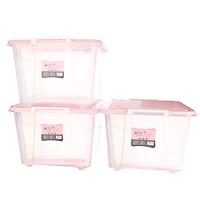 Camellia 86L storage box large capacity transparent matte wheel storage box Bai Na storage box B28002*3 stick