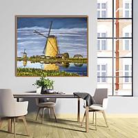 Tranh canvas phong cách sơn dầu - Phong cảnh Cánh đồng cối xay gió - PC016