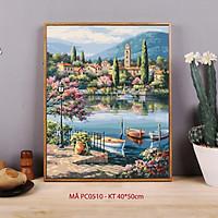 Tranh tự tô màu số hóa Tranh phong cảnh mùa xuân bến thuyền hồ nước Địa Trung Hải mã PC0510