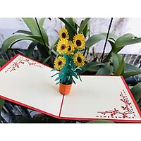 Thiệp 3D Hoa - Chậu hoa hướng dương vàng thắm - NV91